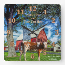 Personalized Guernsey Cow and Farm Clocks