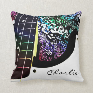 Personalized Guitar Rainbow Music Notes Pillow