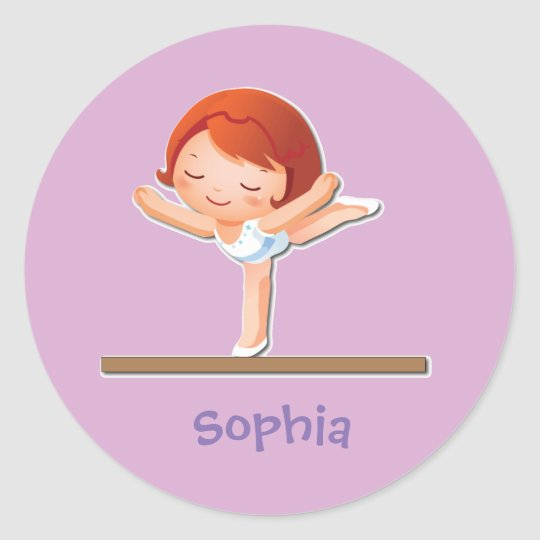 Personalized Gymnastics Gifts Classic Round Sticker