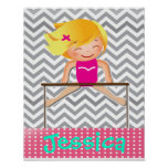 Personalized Gymnastics Girl Bar Poster