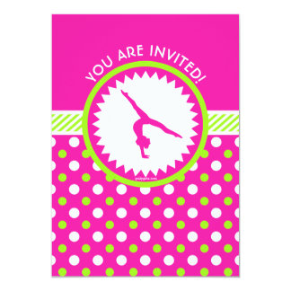 Personalized Gymnastics Pink Green Polka-Dots Card