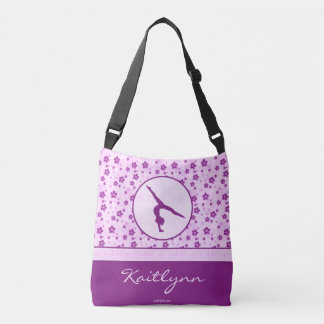 Personalized Gymnastics Purple Heart Floral Crossbody Bag