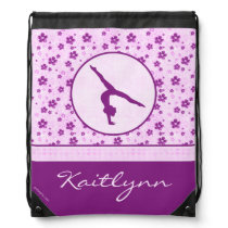 Personalized Gymnastics Purple Heart Floral Drawstring Backpack