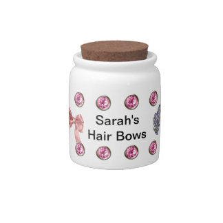 Personalized Hair Bows Jar Template Candy Dishes