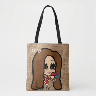 Personalized Hair Stylist Bag Caricature brunette