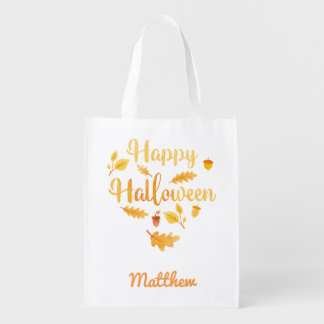 Personalized Halloween Acorns Trick or Treat Sack Grocery Bag