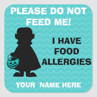 Personalized Halloween Allergy Alert Vampire Teal Square Sticker
