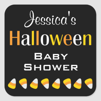 Personalized Halloween Baby Shower Name Stickers