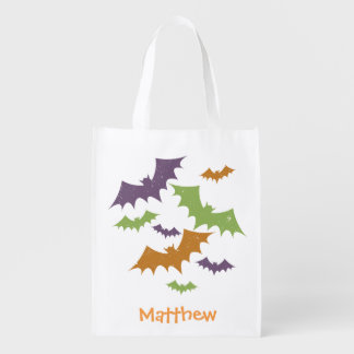 Personalized Halloween Bats Trick or Treat Sack Grocery Bag