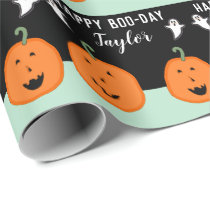 Personalized Halloween Birthday Wrapping Paper
