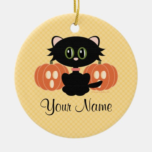 Personalized Halloween Cat Ornament
