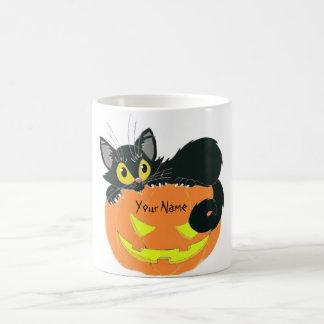 Personalized Halloween Cat & Pumpkin  Coffee Cup Classic White Coffee Mug