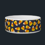 """Personalized Halloween Dog or Cat Bowl Candy Corn<br><div class=""""desc"""">This colorful Halloween design ceramic pet dish has cartoon candy corn, the triangle-shaped orange, yellow, and white Halloween candy, all over the bowl. It&#39;s on a black background. You can change the background color if you want. Add your pet&#39;s name in the template to personalise. Or you can delete that...</div>"""