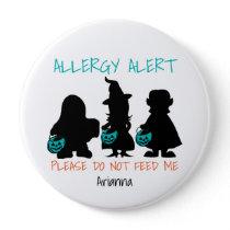 Personalized Halloween Food Allergy Alert Kids Pinback Button
