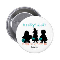 Personalized Halloween Food Allergy Alert Kids Pinback Button