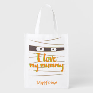 Personalized Halloween Mummy Trick or Treat Sack Grocery Bag