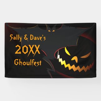 Personalized Halloween Party Banner Bat Lantern