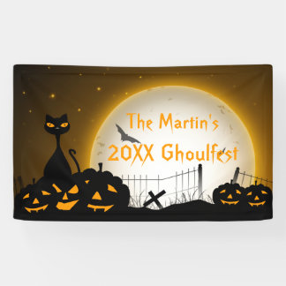 Personalized Halloween Party Banner Cat Pumpkins