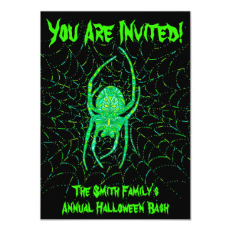 Personalized Halloween Party Green Spider Invites