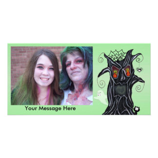 Personalized Halloween Photo Scary Black Tree Card
