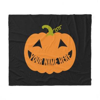 Personalized Halloween Pumpkin Fleece Blanket