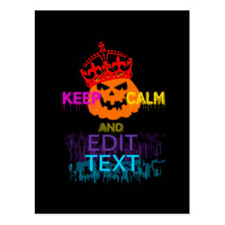 Personalized Halloween Pumpkin Keep Calm Your Text Postcard