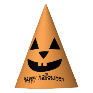 Personalized halloween pumpkin party hat