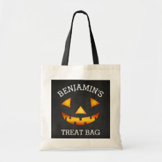 Personalized Halloween Pumpkin Treat Tote Bag at Zazzle