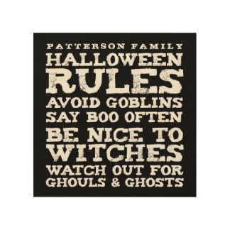 Personalized Halloween Rules Wall Decor Wood Canvases