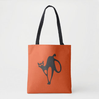 Personalized Halloween Scary Black Cat Tote Bag