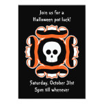 Personalized Halloween skull pot luck dinner party Custom Announcement