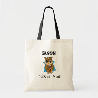 Personalized Halloween Trick or Treating Owl Tote Bag