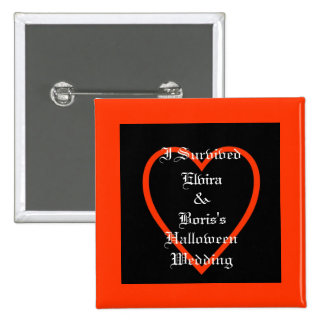 Personalized Halloween Wedding Favor Pinback Buttons