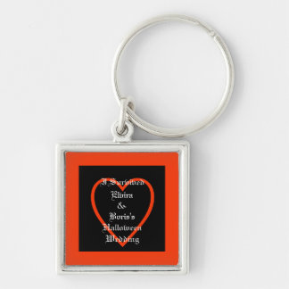 Personalized Halloween Wedding Favor Silver-Colored Square Keychain