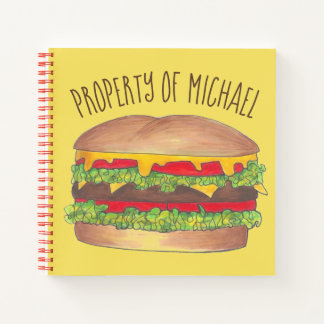 Personalized Hamburger Cheeseburger Burger Foodie Notebook