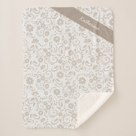 Personalized Hampton beige and white florals Sherpa Blanket