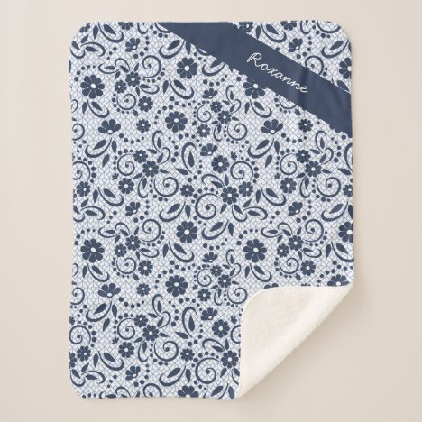 Personalized Hampton blue and white florals Sherpa Blanket