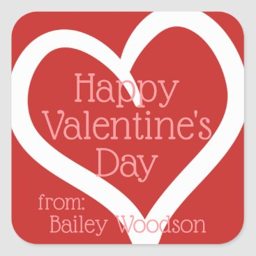 Professional Business Personalized Hand-Drawn Heart Valentine From Square Sticker