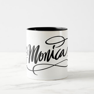 Personalized hand lettered mug with name Monica