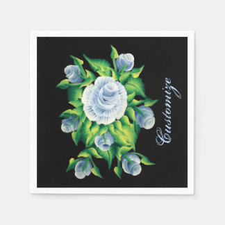 Personalized Hand Painted Blue Roses Black Napkins
