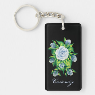 Personalized Hand Painted Blue Roses Key Chain