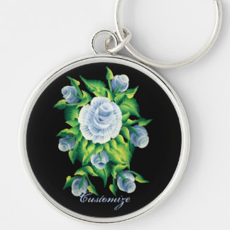 Personalized Hand Painted Blue Roses Key Chain 2