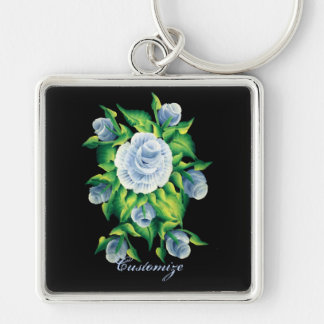 Personalized Hand Painted Blue Roses Key Chain 3