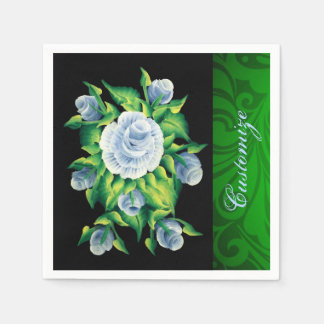 Personalized Hand Painted Blue Roses Napkins