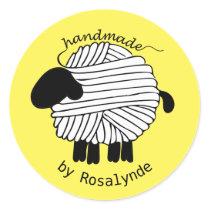 Personalized 'Handmade By' Yarn Sheep Sticker