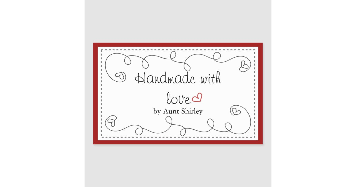 Personalized Handmade With Love Labels Zazzle Com