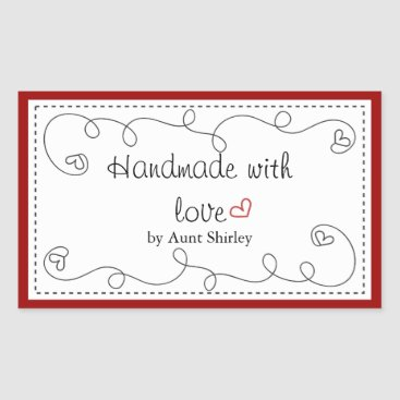 Valentines Themed Personalized Handmade With Love Labels
