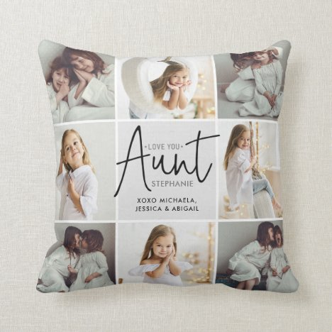Personalized Handwritten Love You Aunt 16-Photo Throw Pillow