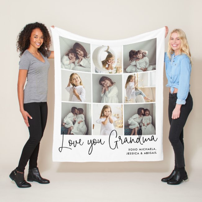 Personalized Handwritten Love You Grandma 9-Photo Fleece Blanket