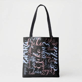 personalized handwritten names on black tote bag